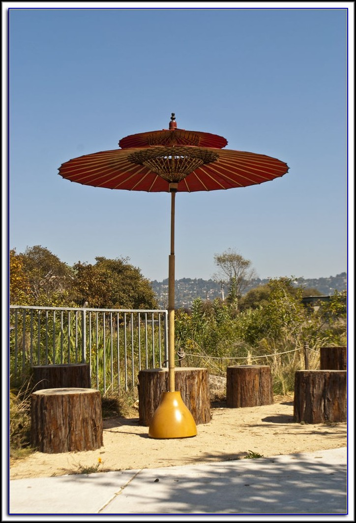 Red Patio Umbrella With Stand