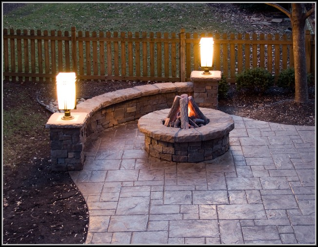 Stamped Concrete Patios With Fire Pit