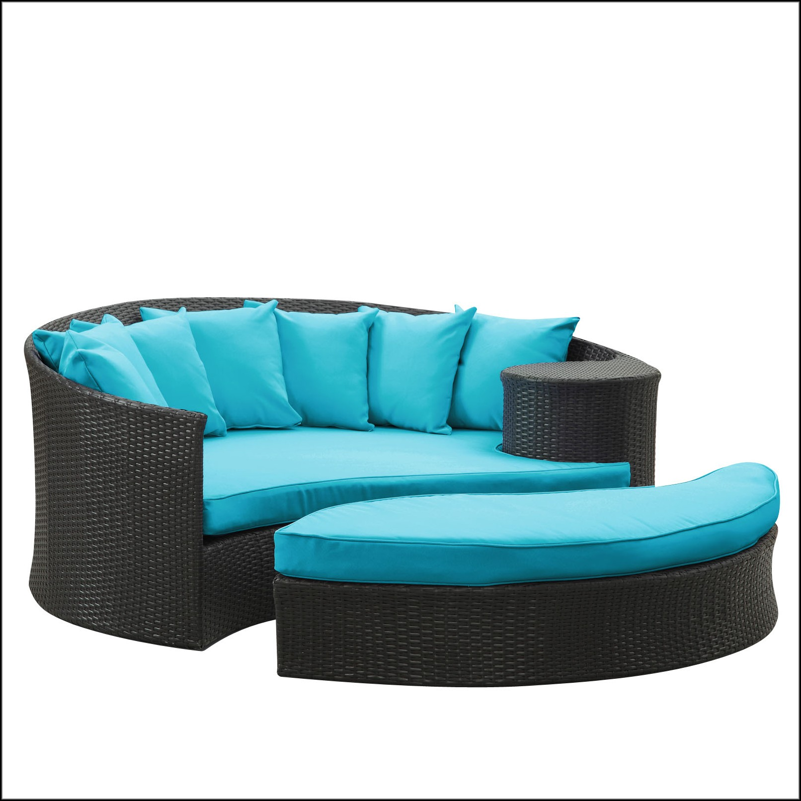 Taiji Outdoor Patio Daybed In Espresso Turquoise