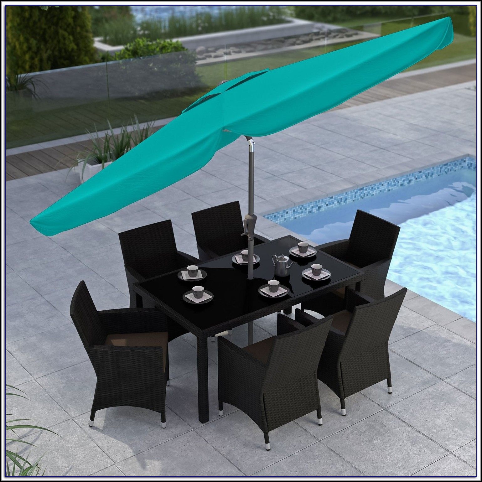 Turquoise 9 Patio Umbrella