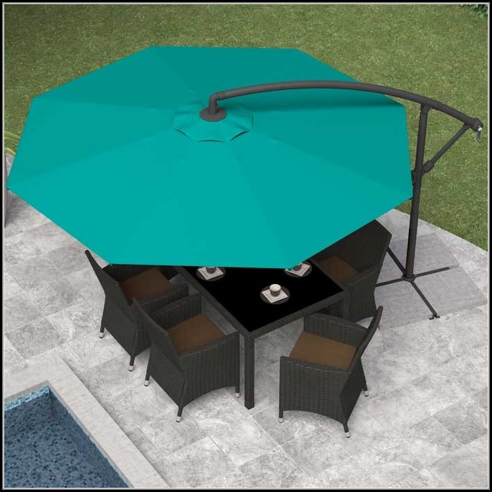 Turquoise Offset Patio Umbrella
