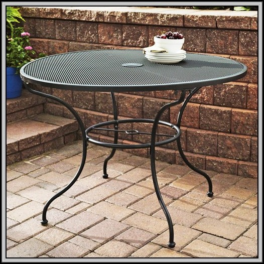 White Wrought Iron Patio Side Table