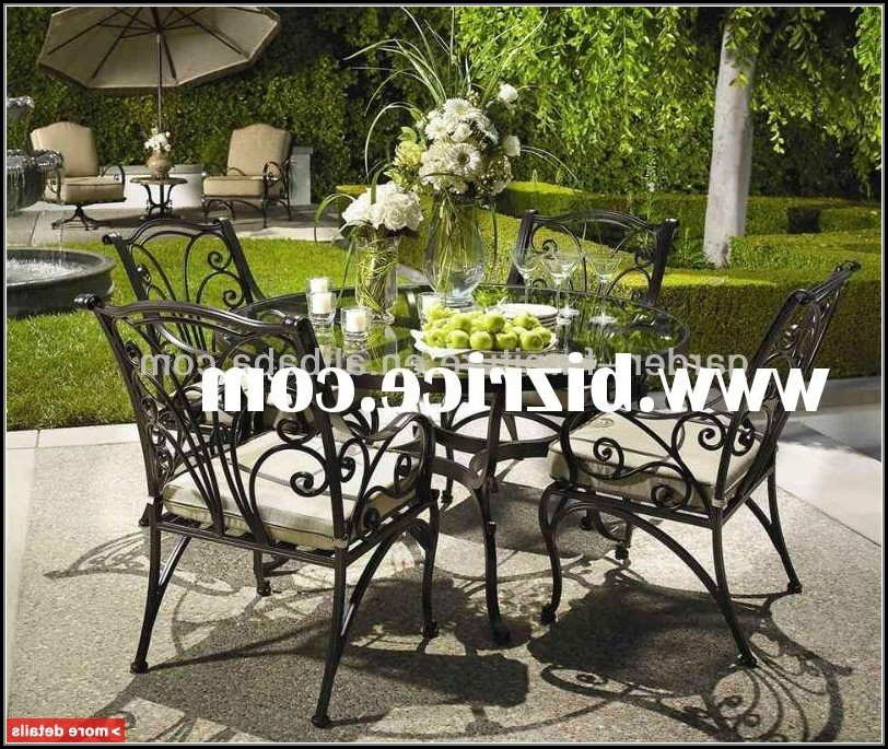 Wrought Iron Patio Furniture Set With Umbrella