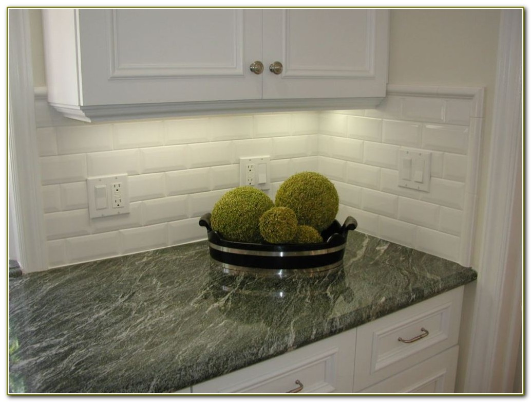 Beveled Subway Tile Backsplash Herringbone
