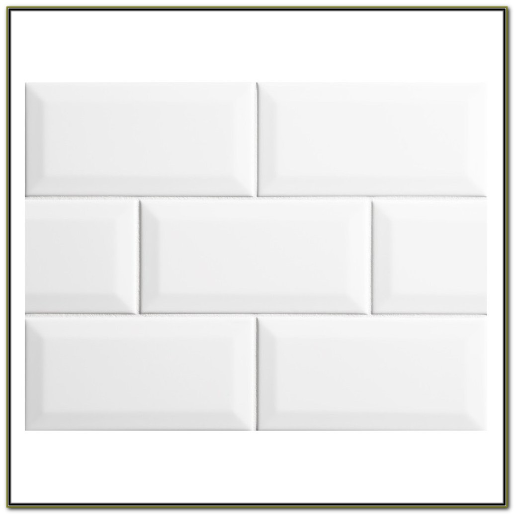 Beveled White Subway Tile Herringbone