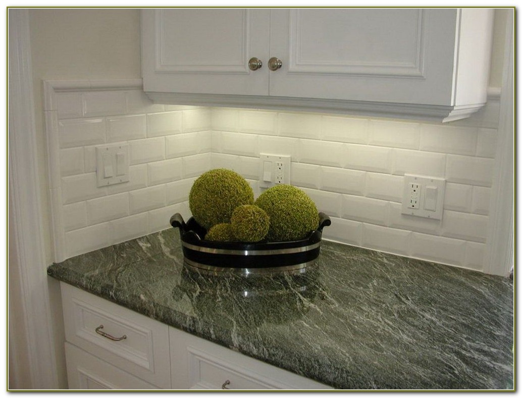 Beveled White Subway Tile Kitchen
