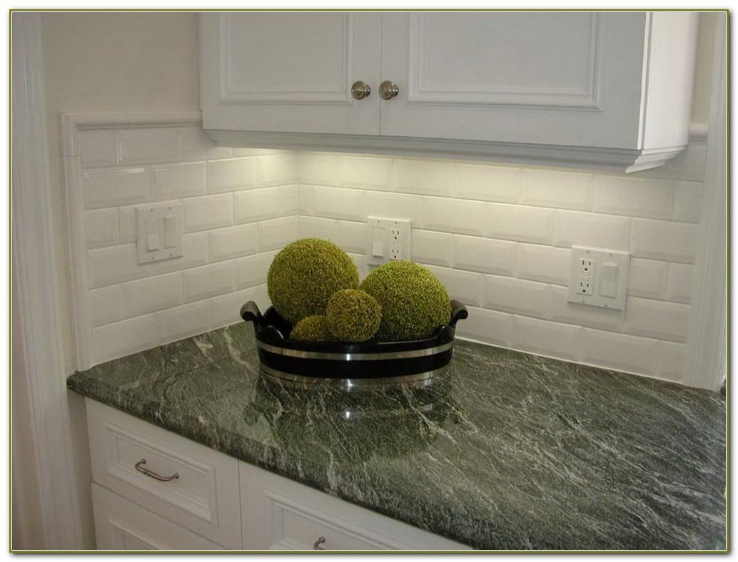 Beveled White Subway Tile Kitchen