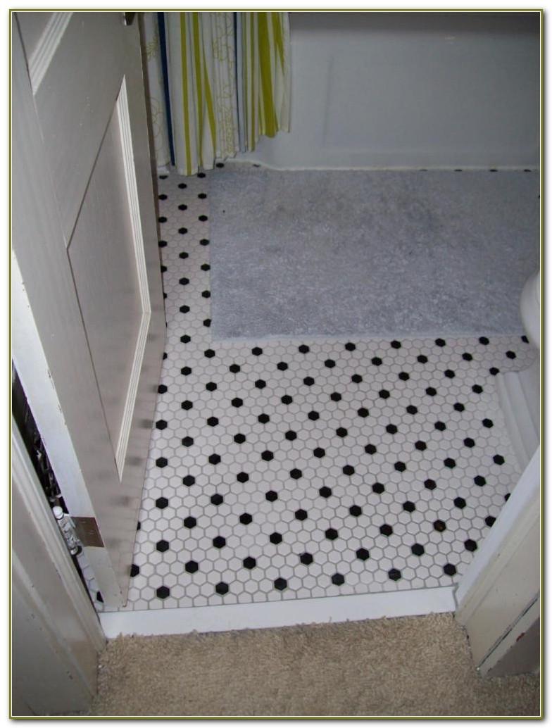Black White Bathroom Floor Tile Hexagon