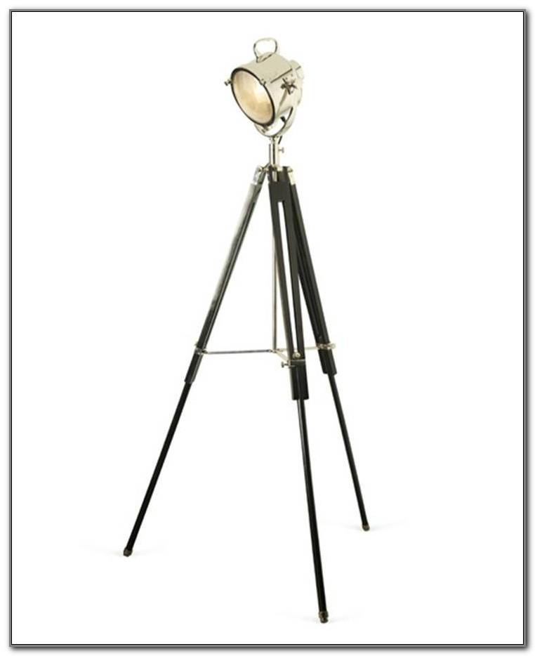 Black Wooden Tripod Spotlight Floor Lamp