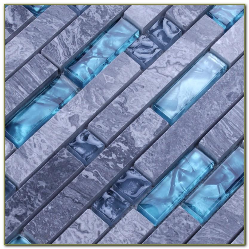 Blue Glass Mosaic Tile Backsplash