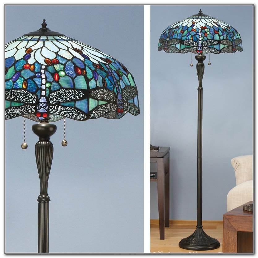 Blue Tiffany Dragonfly Floor Lamp