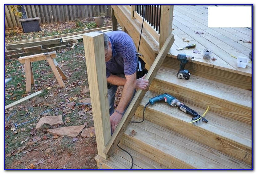 Deck Stair Railing Installation