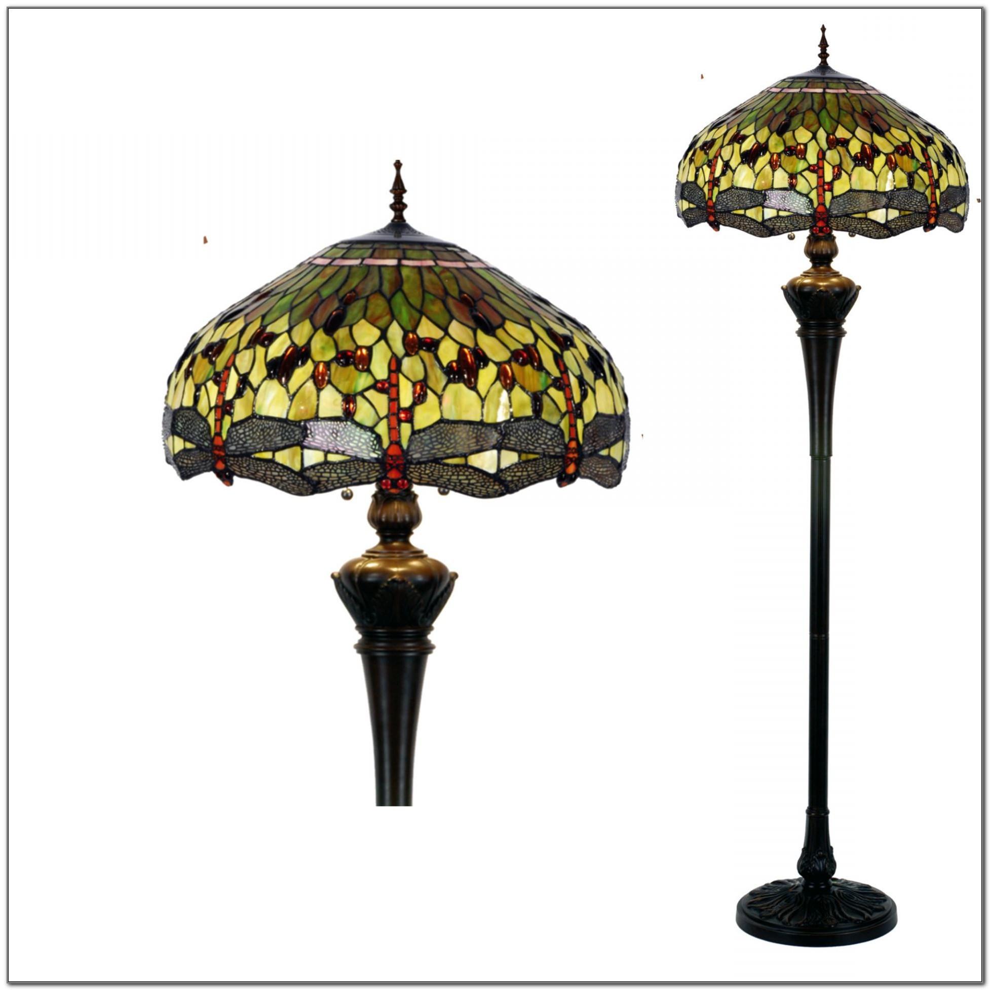 Dragonfly Tiffany Floor Lamp Green