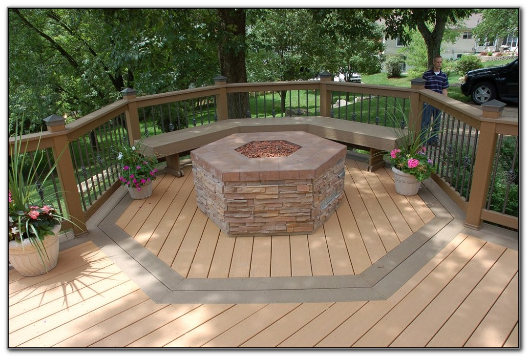 Fire Pit In Wood Deck
