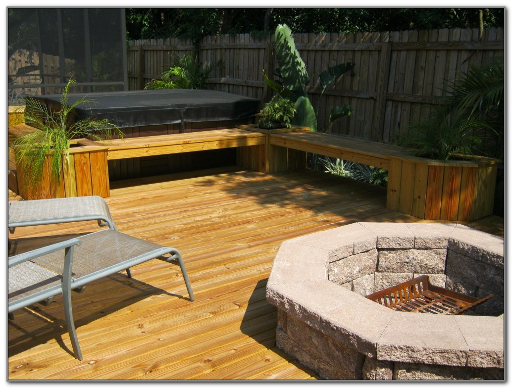 Fire Pit Wood Deck