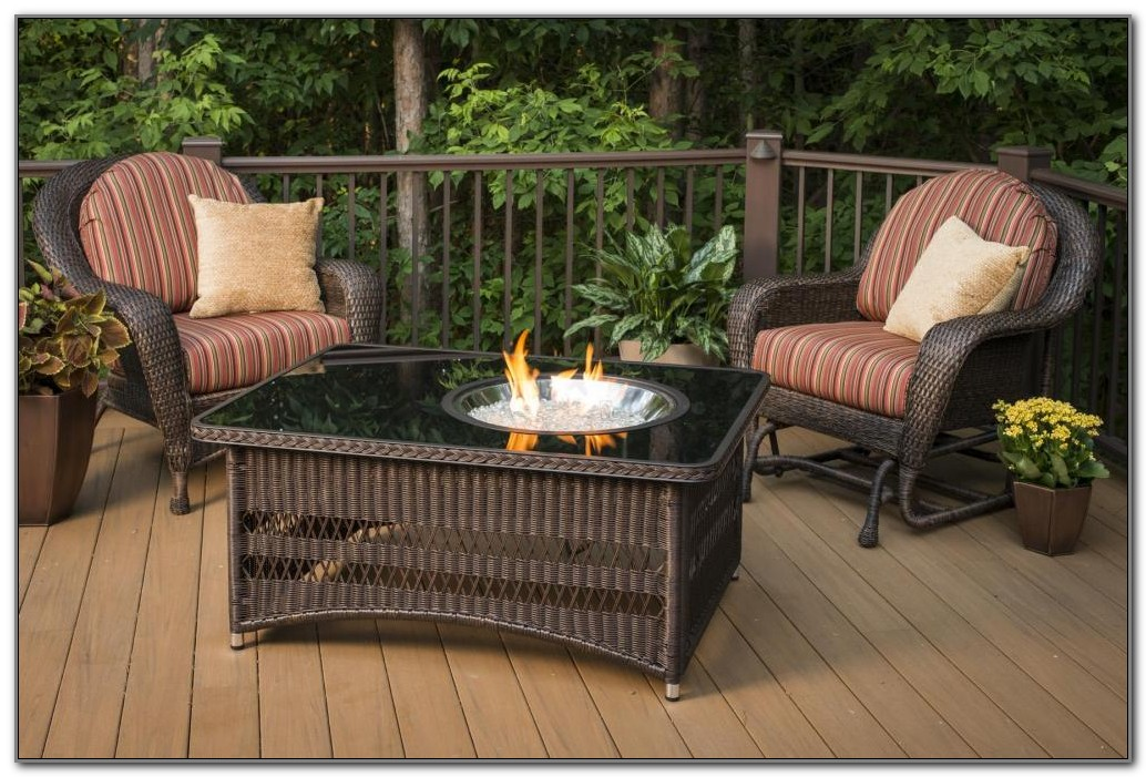 Gas Fire Pit Table On Wood Deck