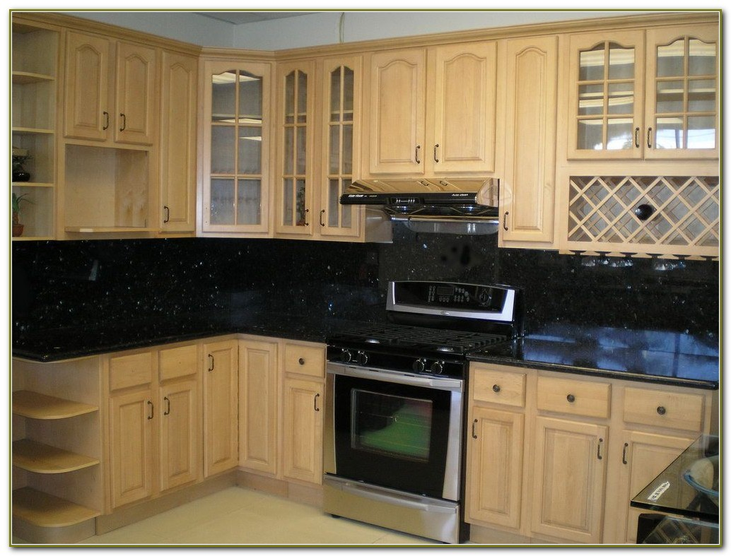 Glass Subway Tile Backsplash Maple Cabinets