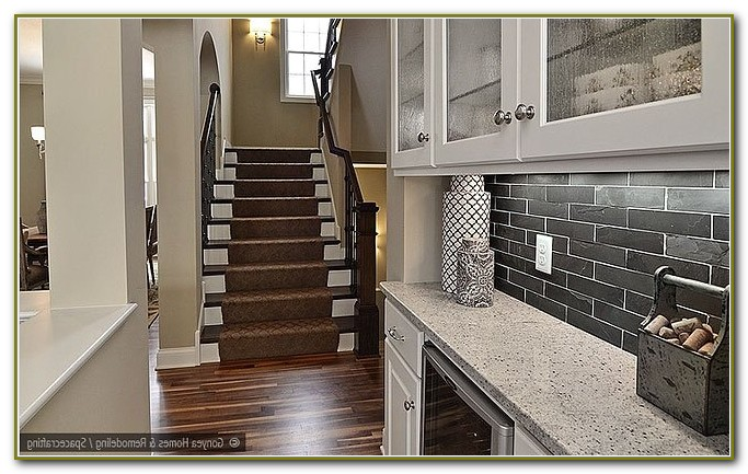 Glass Tile Backsplash White Cabinets Black Granite