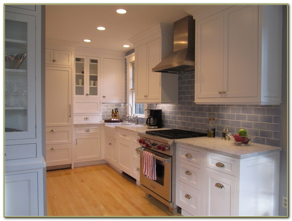 Gray Ceramic Subway Tile Backsplash