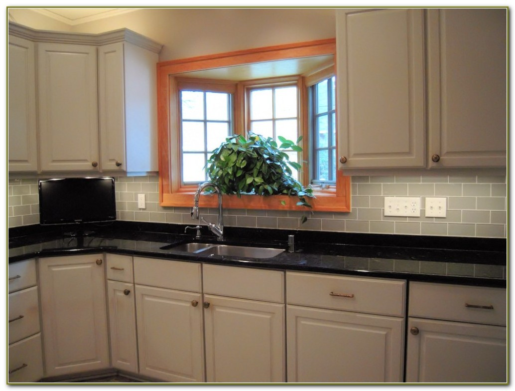 Gray Glass Subway Tile Backsplash