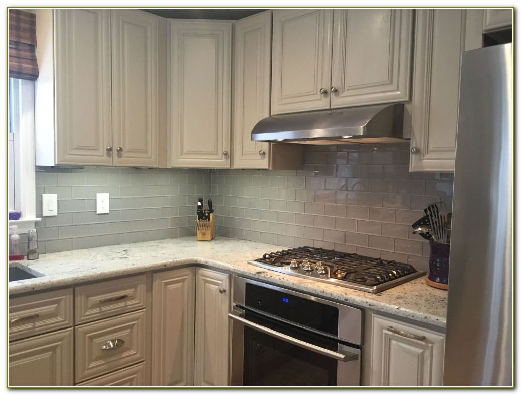 Grey Glass Subway Tile Kitchen