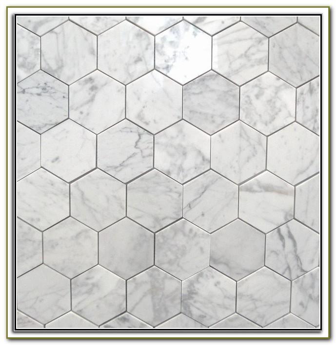 Large White Hexagon Floor Tile