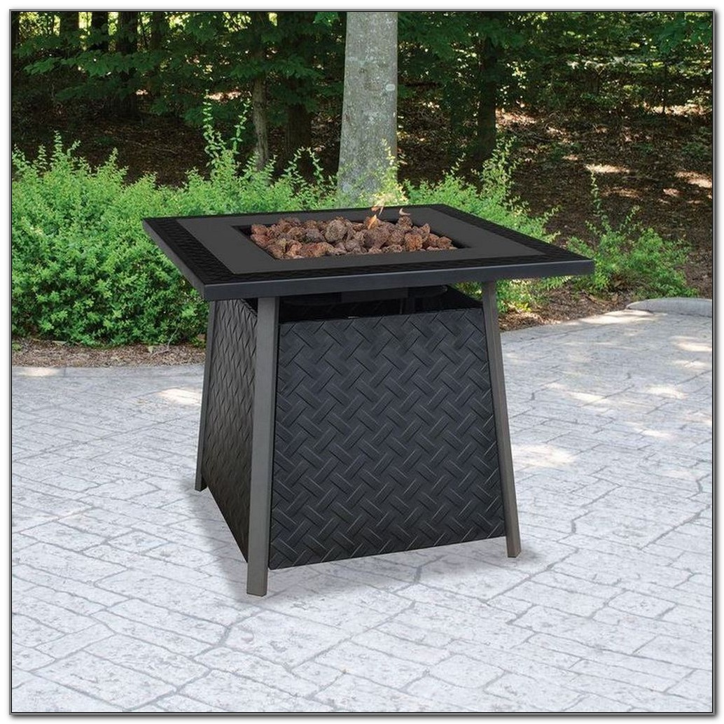 Propane Fire Pit Table On Wood Deck