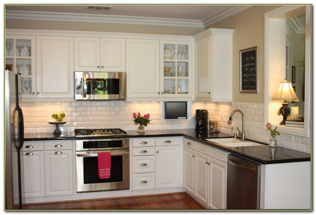 White Beveled Subway Tile Backsplash