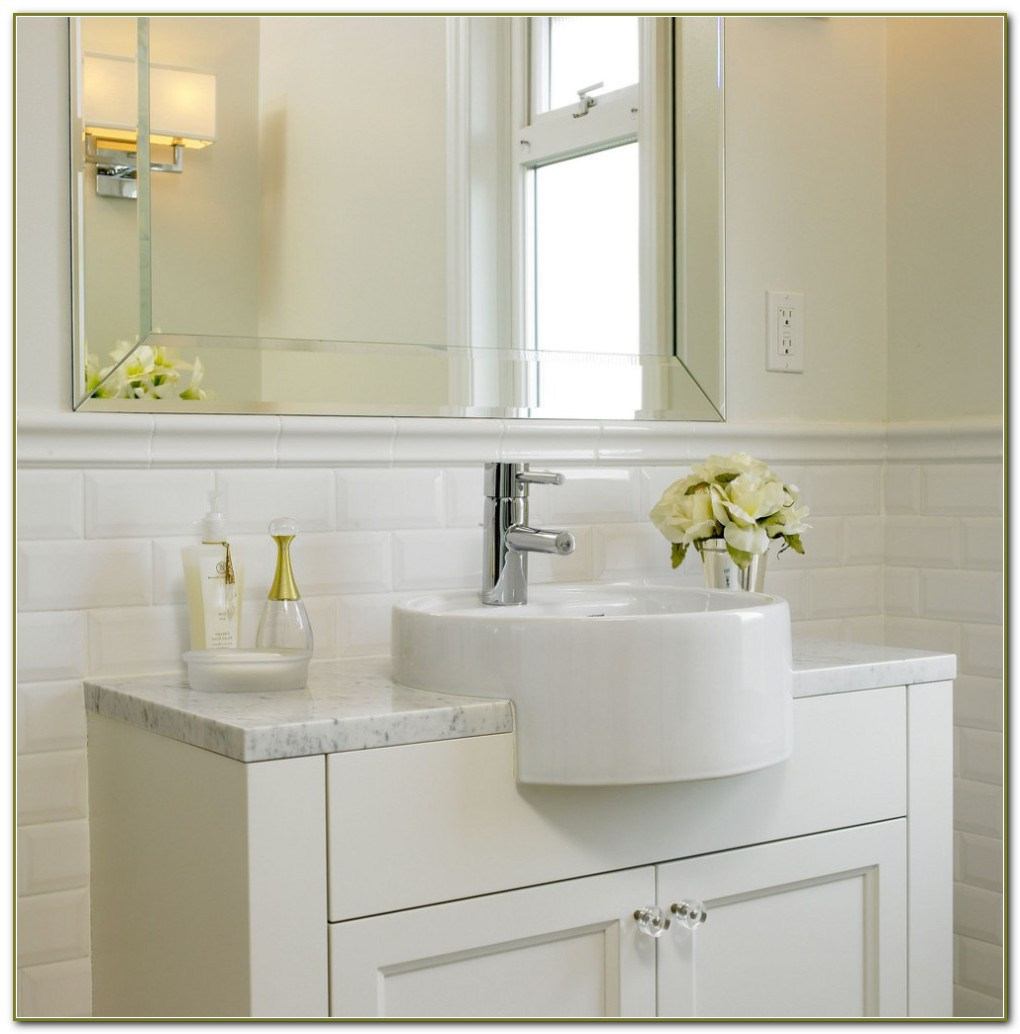 White Beveled Subway Tile Bathroom