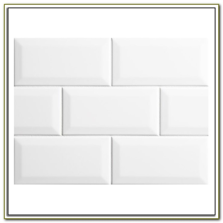 White Beveled Subway Tile With Black Grout