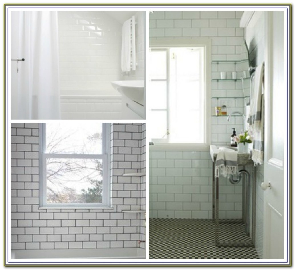 White Beveled Subway Tile With Gray Grout