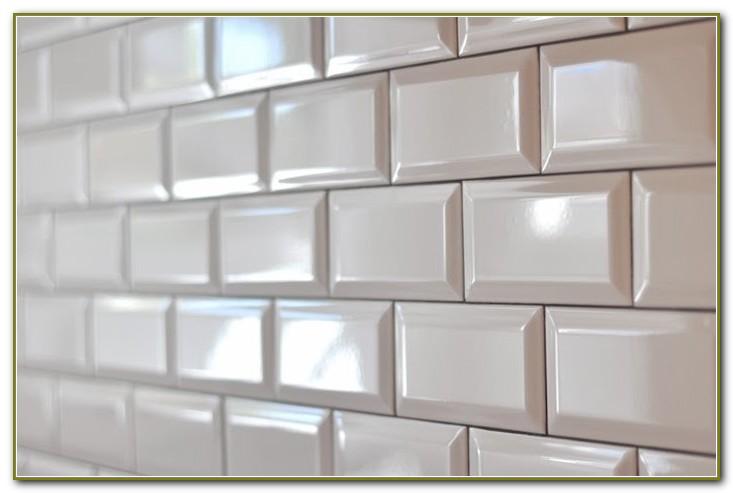 White Beveled Subway Tile