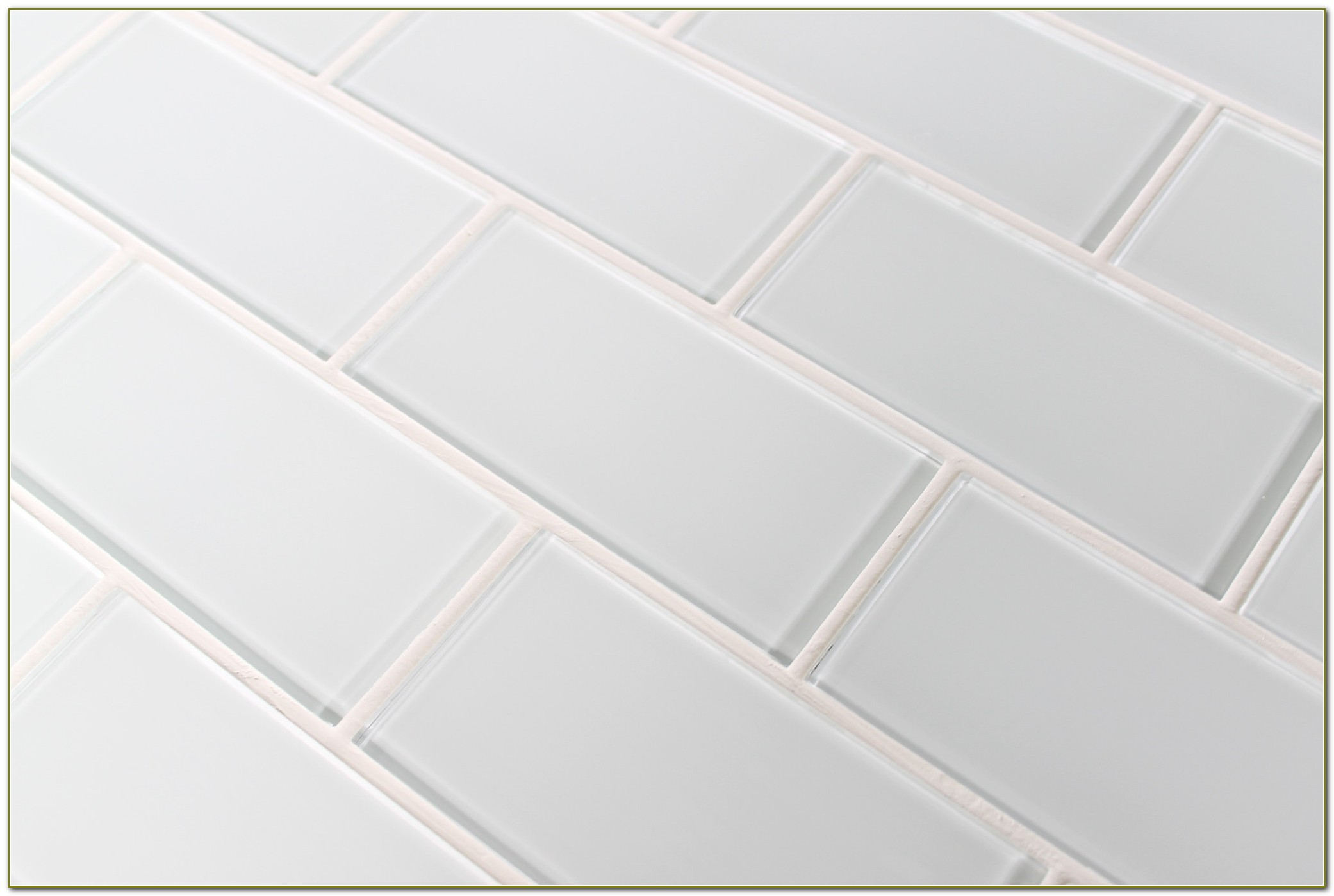 White Glass Subway Tile 3x6