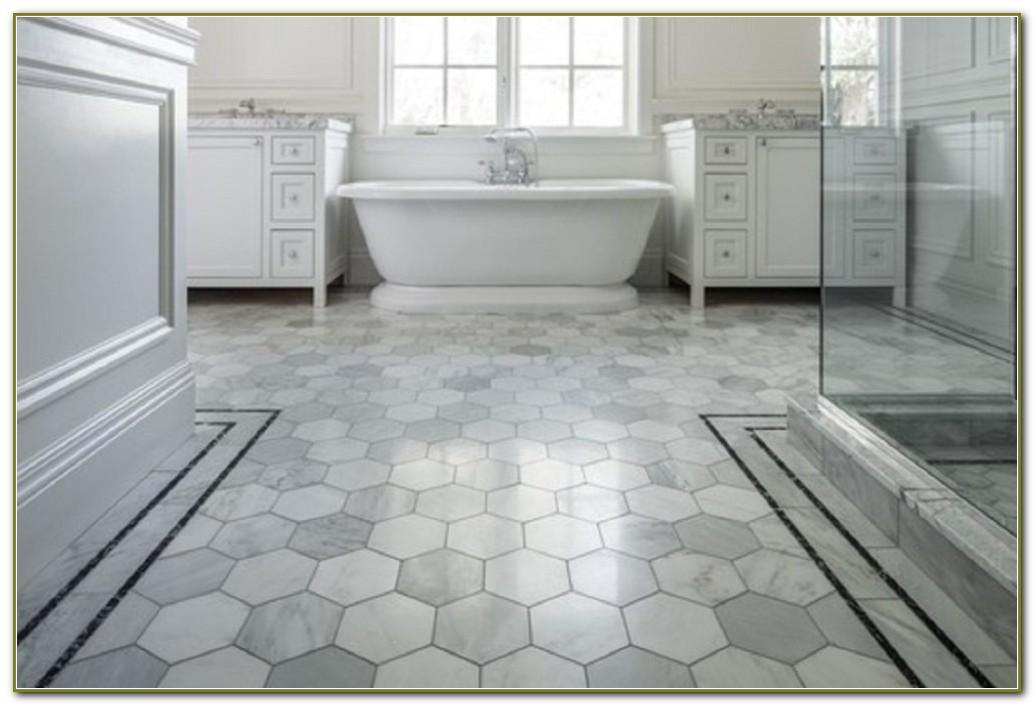 White Hexagon Bathroom Floor Tile