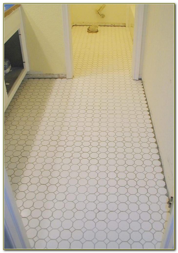 White Mosaic Bathroom Floor Tile