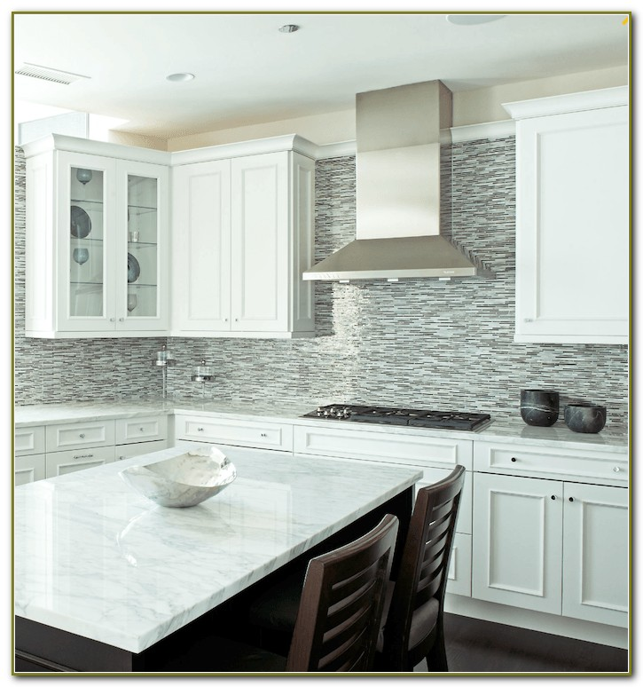 White Mosaic Glass Tile Backsplash