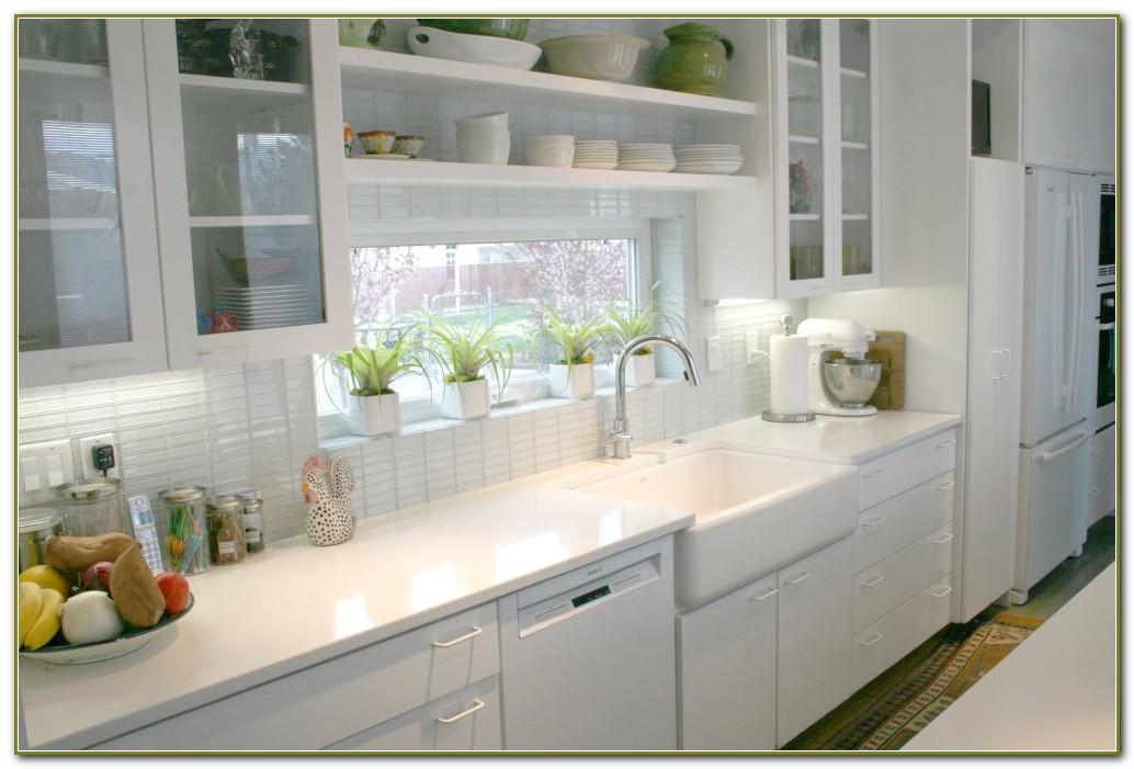 White Subway Tile Backsplash Kitchen