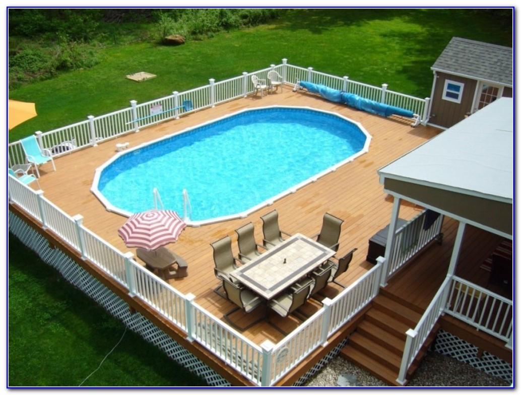 Wooden Decks Around Above Ground Pools