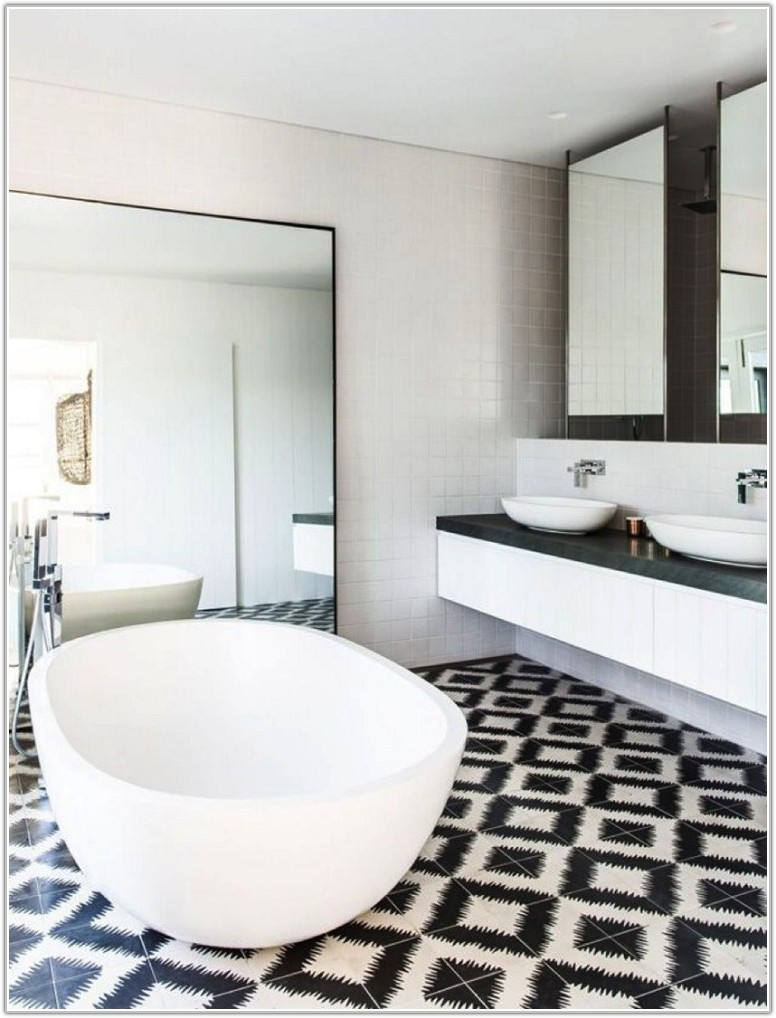Bathroom Tile Designs Black And White