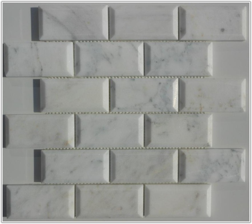 Beveled Carrara Marble Subway Tiles