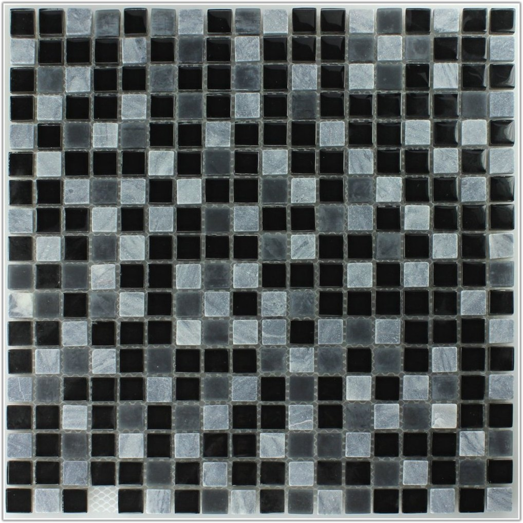 Black And Grey Glass Mosaic Tiles