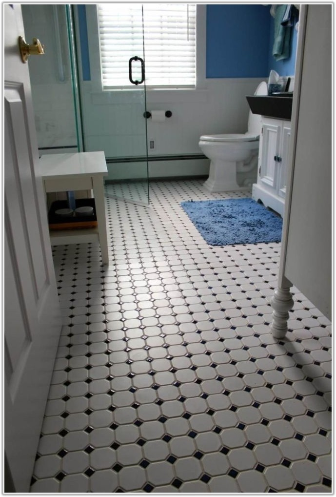 Black And White Ceramic Bathroom Floor Tile