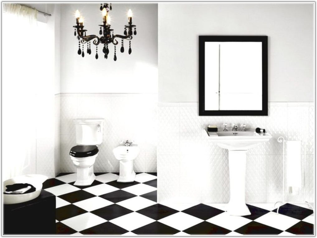 Black And White Floor Tile Bathroom