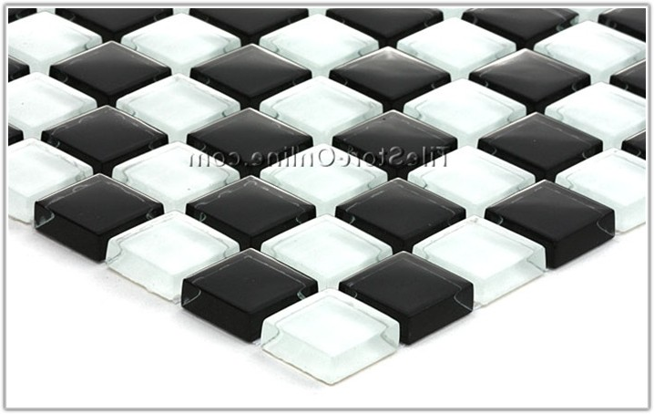 Black And White Glass Mosaic Tile