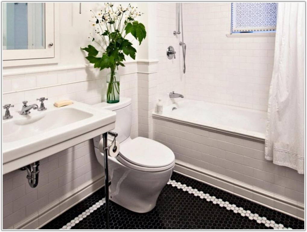 Black And White Hexagon Tile Bathroom