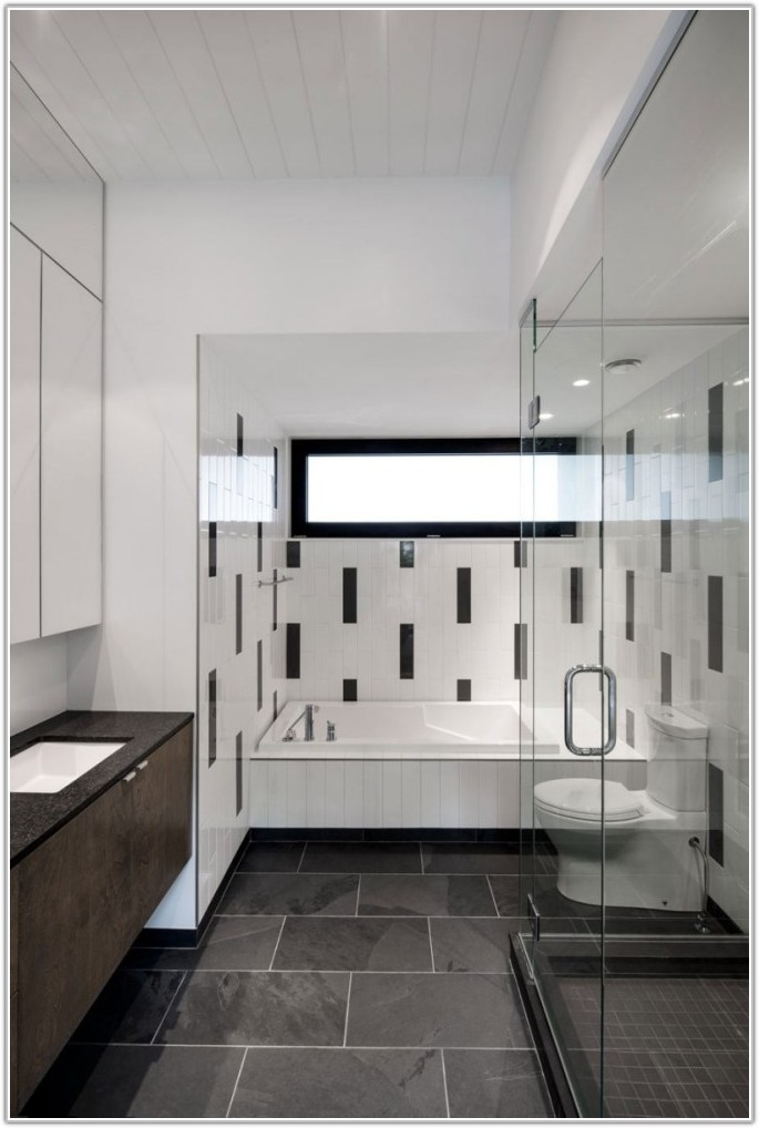 Black And White Wall Tiles Bathroom