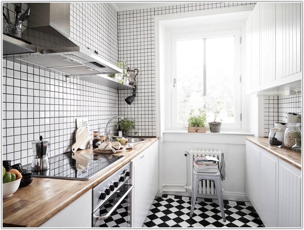 Black And White Wall Tiles Kitchen