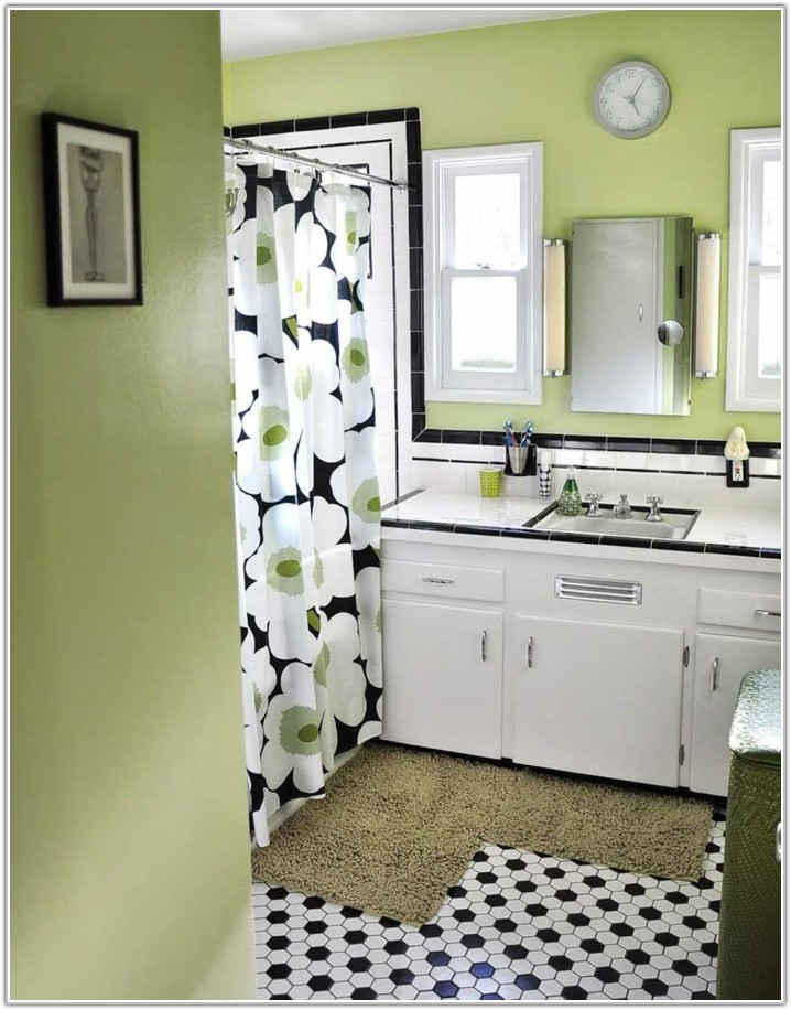 Black White Tile Bathroom Wall Color
