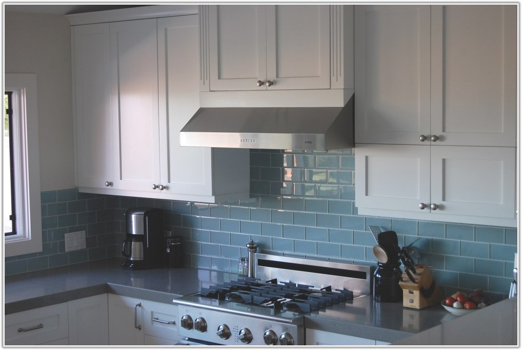 Blue Glass Subway Tile Kitchen