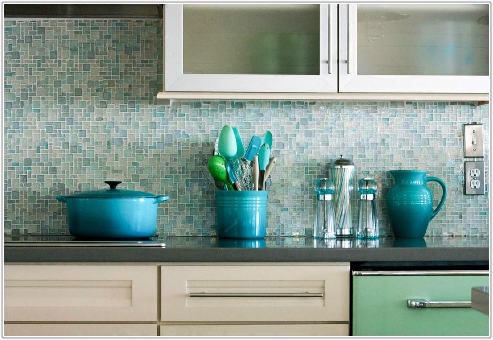 Blue Glass Tile Kitchen Backsplash